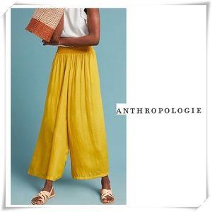 Anthropologie Dolan Silk Wide Pants Mustard Yellow